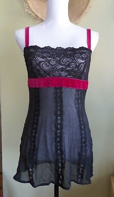 Size 38-32 Inches Long J C Penney Mg Black Full Slip W Cups Of Qiana Nylon