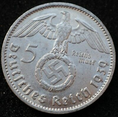 5 REICHSMARK 1939 J - Genuine KM#94 German Reich 900 Silver coin - #7734