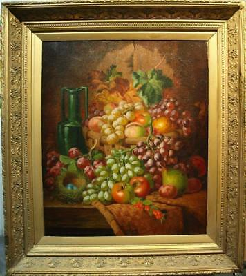 LARGE 19th Century STILL LIFE FRUIT BOWL ON LEDGE Antique Oil Painting BALE