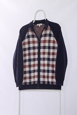 Vintage Mens AQUASCUTUM Plaid Check Full Zip Jumper Sweater