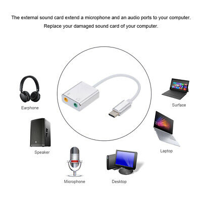 USB 2.0 to 3.5mm mic headphone Jack Stereo Headset Sound Card Audio Adapter AU