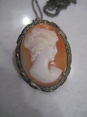 Antique Victorian Cameo Brooch Pin Pendant Carved Shell 800 Silver 925 Marcasite