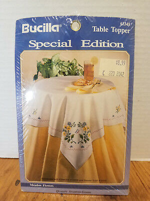 Vintage Bucilla Meadow Flowers Table Topper Embroidery Pattern Printed #63345