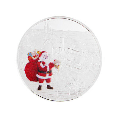 HK- Merry Christmas Santa Claus Commemorative Coin Souvenir Holiday Gift Exquisi