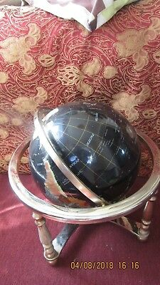 GEM ENCRUSTED WORLD GLOBE AND COMPASS ON BRASS STAND  20 inches high