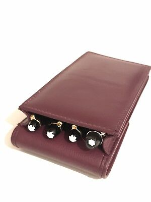 Burgundy Triple/Quadruple Magnetic Pen Case/Pouch. Real Leather Hand Made