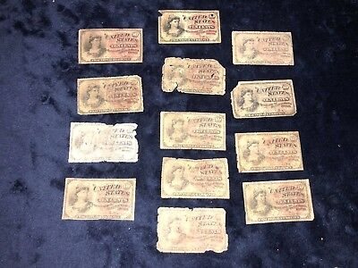 Collection Of *13* 10 Ten Cents Fourth Issue Fractional Currency Notes