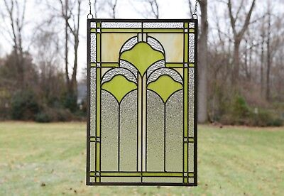 """15.25"""" x 22.75"""" Handcrafted Ginkgo style stained glass window panel"""