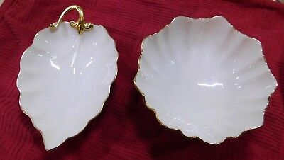 Lenox Scalloped Ivory Bowl/Candy Dish with Gold Trim & nut boul