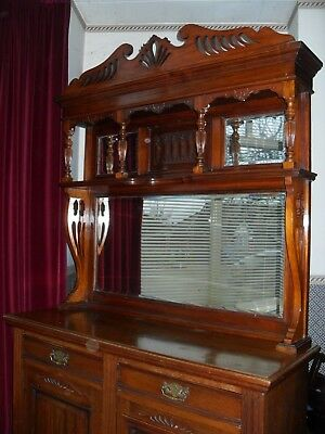 Solid Carved Antique Dresser/Sideboard 2 Cupboard & 2 Drawer With Mirrors