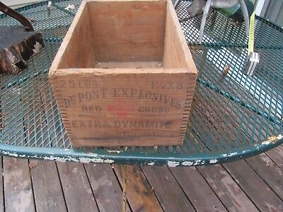 vintage dupont explosives red cross wood box crate extra dynamite old decor