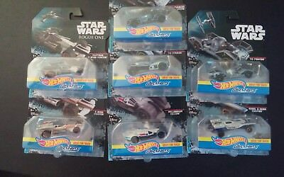 Hot Wheels Die Cast Star Wars Lot of 7 Cars Toys Action Figures And Ships Set