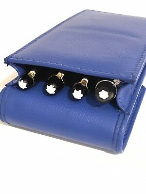 Blue Triple Quadruple Magnetic Pen Case/Pouch. Real Soft Leather Had Made