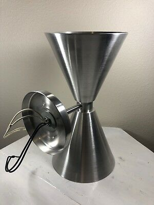 Double Cone Brushed Aluminum Mid Century Modern Wall Sconce