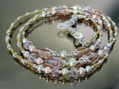 Spectacle Glasses Eyeglass Beaded Chain Holder Pink Champagne Crystal S1881