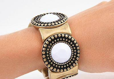 New Avon WHITE GLAM Antiqued Brass-Look Stretch BRACELET - Light Weight & Chunky