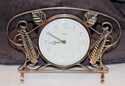 Attractive Brass Mechanical Mantle Clock c1930s Made In Germany By/ For Bentima
