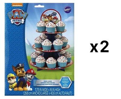 Wilton Paw Patrol Cardboard 3-Tier 24-Cupcake Treat Stand With Topper (2-Pack)