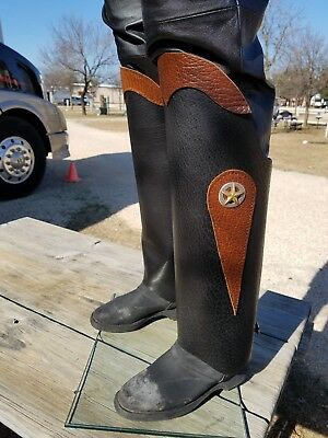 Motorcycle Bison Leather Half Chaps