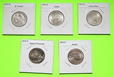 2012 S America The Beautiful Quarters(ATB) 5 Coin Set-Mint Bags-Free Shipping