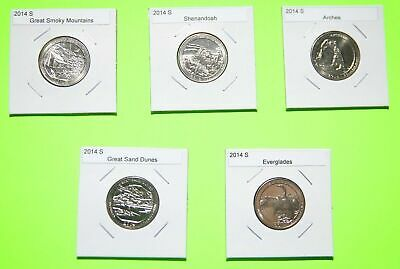 2014 S America The Beautiful Quarters(ATB) 5 Coin Set-Mint Bags-Free Shipping