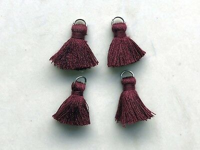 4 x Cotton Tassels 20mm 2cm Long - PLUM - great for earrings & accessories