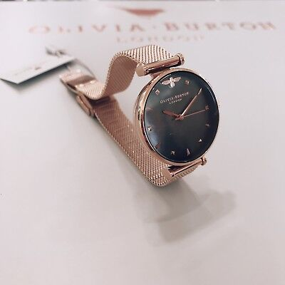 1ff3326e26a9 Olivia Burton 30mm Queen Bee Black Mother Of Pearl Rose Gold Mesh Watch  OB16AM14