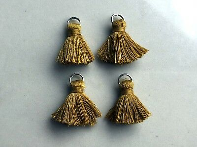 4 x Cotton Tassels 20mm 2cm Long GOLDEN MUSTARD great for earrings & accessories