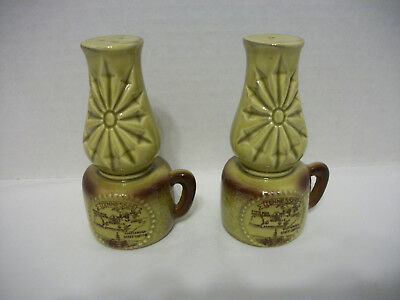 Vintage Ceramic Oil Lamps Salt And Pepper Shakers-Tennessee Souvenir, Japan