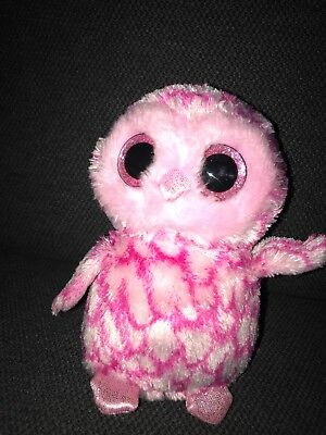Ty Beanie Boos Baby Owl Pinky Plush Stuffed Animal 6 Without Tags