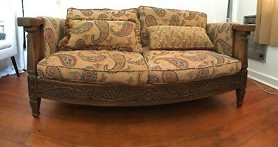 Romweber Viking Oak Living Room Set 1950's loveseat and 2 chairs; hand carved