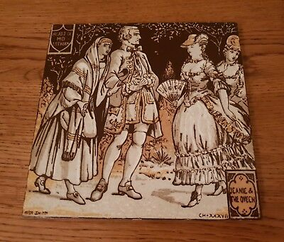 Rare Minton Moyr Smith Tile - Heart of Midlothian - Jeanie & The Queen -  c.1880