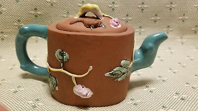 Antique Chinese Yixing Zisha Clay Teapot With Colorful Glaze Squirrels And Grape