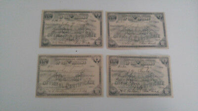 4 Odd Fellows 1906 Certificates Of Payment For Membership / Dues