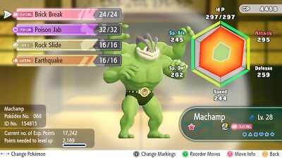 Pokemon Let's Go Pikachu & Eevee - Shiny MACHAMP  6iv