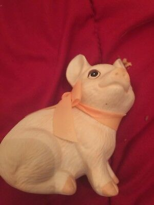 Miniature Sitting Ceramic Pig Figurine