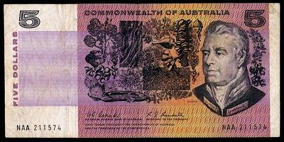 AUSTRALIA • Coombs/Randall First $5 Note • First Prefix NAA • Fine