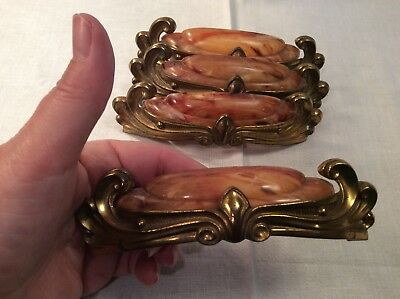 Four Vintage Art Deco Bakelite Brass Waterfall Drawer Pulls