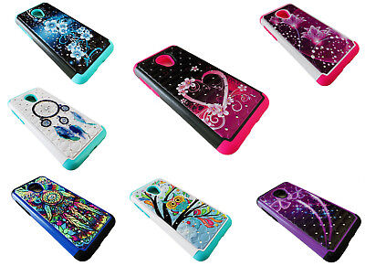 Tempered Glass Protector + Sparkle Phone Case Cover For Alcatel TCL LX A502DL