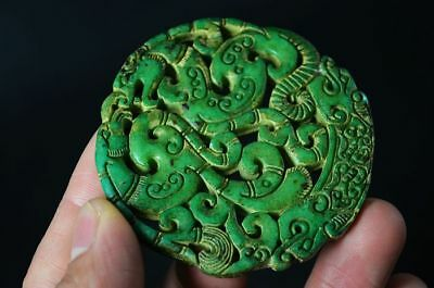 Exquisite Chinese Old Jade Carved Two-sided *dragon/Phoenix* lucky Pendant  G45