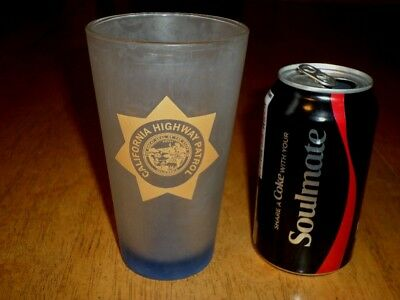 [CHP] CALIFORNIA HIGHWAY PATROL- State Police, FROSTED, BEER PINT GLASS, VINTAGE