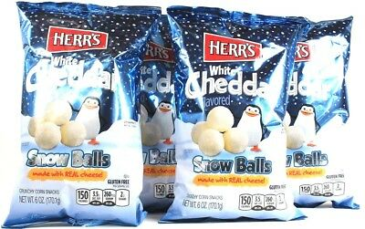 4 Bags Herr's 6 Oz White Cheddar Snow Balls GF Made With Real Cheese BB 4/17/19