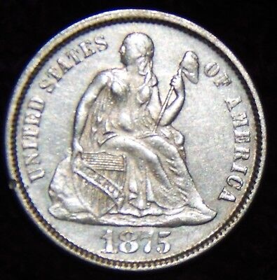 1875 Liberty Seated Dime,Variety 4 With Weight Standard of Variety 5,90% Silver
