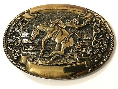 Vtg. Cowboy Rodeo Bucking Bronco Horse Belt Buckle Made in USA