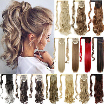 100% Real Thick Clip In One Piece Hair Extensions Ponytail Wrap On Pony Tail AAA