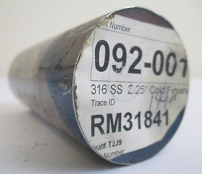 """2.25"""" Diameter 316 Stainless Steel Cold Finished Round Rod 5"""" Length Lathe Bar"""