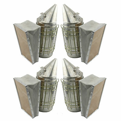 Set of 4 Bee Hive Smoker Stainless Steel w. Heat Shield Beekeeping Equipment !.