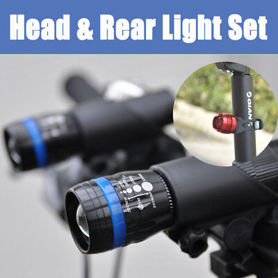 2x Zoomable Q5 LED Cycling Bike Bicycle Head Front Lights+ Rear Flashlights SET