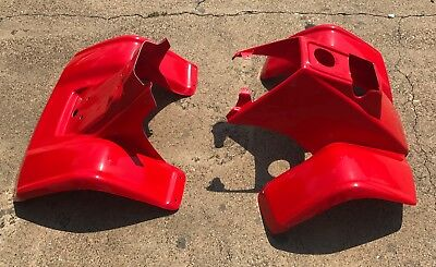 New Honda Trx70 Red Front And Rear Fender Set 1986-1987