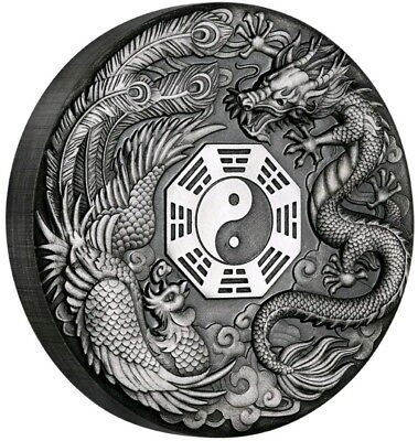 2019 2 Oz Silver Tuvalu $2 DRAGON AND PHOENIX Yin Yang Mythical Antique Coin.